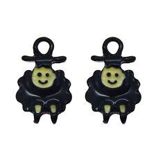 6 pcs Black Enamel Metal Cute Sheep Pendants Charms Crafts Accessories #53624