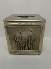 Ceramic Square Tissue Box Holder Cover floral design gold on color 6x6