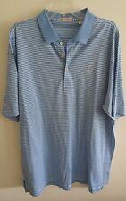 MENS XL Peter Millar Polo Shirt Blue Striped GOLF club Polo country club