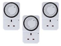 24 HOUR PROGRAMMABLE TIMER FOR UK MAINS WALL HOME SOCKET PLUG IN SWITCH