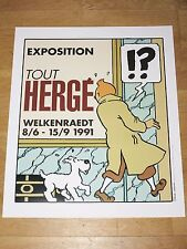 TINTIN EXHIBITION POSTER - EXPOSITION TOUT HERGÉ WELKENRAEDT 57 x 48 cm NEW MINT