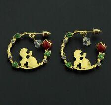 Beauty and the Beast Earrings Crystal Rose Hoop Earrings Christmas Birthday 826