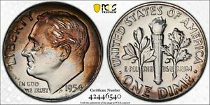 1954 Proof Silver Lincoln Wheat Penny 1 Cent PCGS PR66 Interesting Toning Color