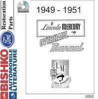 1949 1950 1951 Lincoln Mercury Shop Service Repair Manual CD Engine Drivetrain