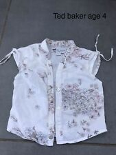 Girls Ted Baker Age 4 Years Short Sleeve White Floral Blouse Shirt