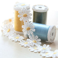 1 Yard Daisy Lace Trims Floret Sewing Applique Embroidered Headband Ribbon Craft