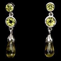 Unheated Briolette Lemon Quartz 10x5mm Peridot 925 Sterling Silver Earrings