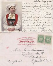 Norway 1904 ppclady in Traditional custume from Sand to England