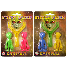 2 STICKY MAN ALIEN CATAPULTS SLINGSHOT PARTY LOOT BAGS FAVOURS STRETCH MAN TOYS