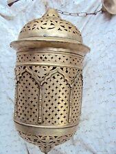 ancienne grosse lanterne en laiton argenté ajouré 20 ème