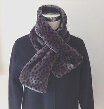 "DENNIS BASSO Faux Fur Leopard Print Scarf Collar Black & Gray 36"" x 6.5"" w/ slit"