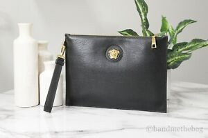 Versace Large Black Grainy Leather Gold Medusa Wristlet Clutch Pouch Hand Bag