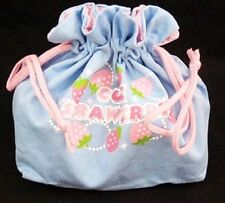 Drawstring Lunch Bag STRAWBERRY BLUE for Japanese Bento Lunch Box S01