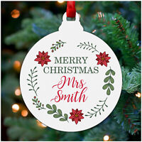 Personalised Christmas Tree Decoration Baubles Gift Tags Teacher Nanny Family