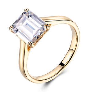 Solid 18K Yellow Gold White Topaz 9X7mm Emerald 2.7ct Gemstone Ring Fine Jewelry