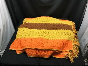 "Vintage Crocheted Blanket Yellow Orange Brown 60"" x 78"""