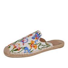 NEW Tory Burch Women's Painted Iris Canvas Espadrilles Slides Sandals Shoes