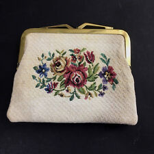 Vintage Saks Fifth Avenue Coin Makeup Bag Tapestry Floral Germany Needlepoint