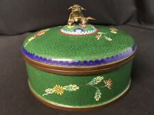 "Antique Chinese Cloisonne 3 Part 6&1/2"" Covered Dish or Bowl With Lid Green"