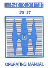 Scott Manuel d'Utilisation User Manual Owners Manual Pour PS 17
