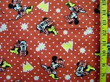 DISNEY MINNIE MOUSE DAISIES ON RED 100% COTTON FLANNEL FABRIC BY THE 1/2  YARD