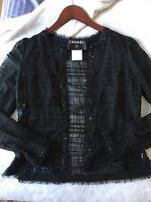 Authentic Chanel Lightweight Jacket Black Cotton Silk sequin bead sz 36 Raw Hem