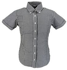 Relco Retro Black Gingham Ladies Button Down Short Sleeved Shirts