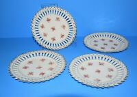 ANTIQUE SET OF 4 ACS Bavaria Reticulated Pained Porcelain Plates Roses Gold Trim