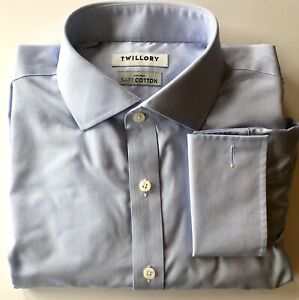 Twillory Blue Tailored Fit French Cuff Non-Iron Men's Dress Shirt 16, 34/35