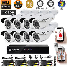 Eyedea 8CH L 1080P DVR 2.0MP Bullet White Waterproof CCTV Security Camera System
