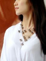 Collier Mi Long Doré Multi Rang Pendantif Perle Noir Fin Leger AZ 2