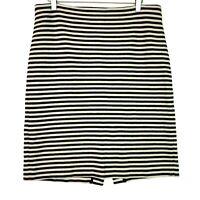 Talbots knit striped pencil skirt navy blue cream size 10 medium