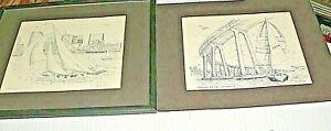 2-VTG GIL McCUE SIGNED Lithographs CORONADO BRIDGE & SAILING SAN DIEGO HARBOR