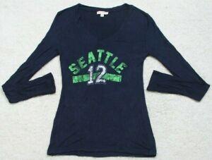 Zenana Outfitters Blue & Green Seattle 12 T-Shirt Tee Long Sleeve Top Medium