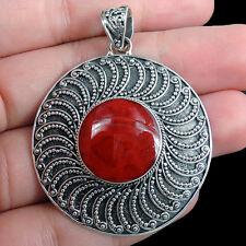 Round RED CORAL & 925 STERLING SILVER Pendant Jewellery