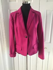 J CREW Fuchsia Notched  BLAZER WOOL  1 BUTTON Excellent 10