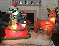 Gemmy Airblown Inflatable Prototype Racoon Bunny Owl Reindeer Sleigh Ride 6 Ft.