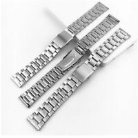 Stainless Steel Watch Band Link Bracelet Wrist Strap with Folding Clasp 12-22mm