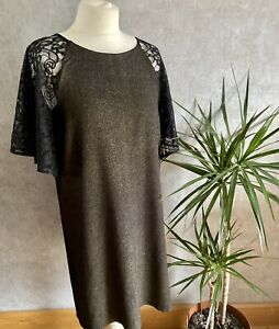 Womens Size 14 Paper Dolls Black And Gold Shimmer Shift Dress Lace Christmas