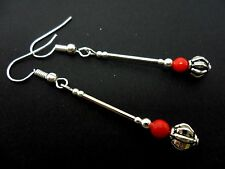 A PAIR OF TIBETAN SILVER & RED CORAL BEAD DANGLY EARRINGS. NEW.