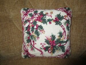 """Holly, Berries & Ribbon NEEDLEPOINT PILLOW w/Zip Off Cover - 10"""" x 10"""""""