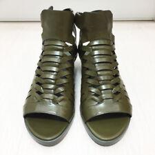 [Alexander Wang] Nika Hirachi Leather Wedge Olive Sandals EU38 US8, New With Box