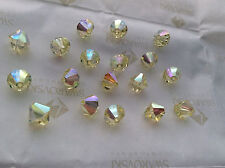 60 Swarovski #5301 6mm Crystal Jonquil AB Faceted Bicone Beads