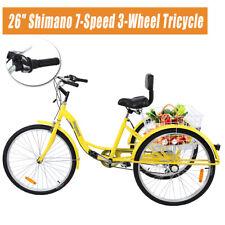 Ridgeyard 26 Adult Tricycle 3-Wheel Low Step 7 Speed Bicycle Trike Cruiser White