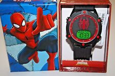 Marvel Comics Spiderman Sports Watch Black Band Digital Face