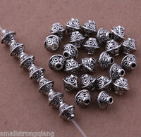 80 pcs Tibetan silver Spacer beads Bracelets necklaces Charms Findings 6mm