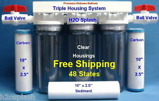 "Whole House Water Filter /Sediment/Carbon/Drinking/RO 3/4"" Ports-Clear Housings"