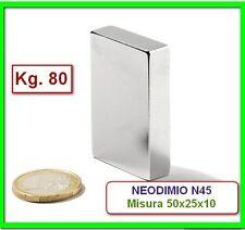 MAGNETE 50x25x10 mm. 80 kg N45 MAGNETI CALAMITA NEODIMIO extra