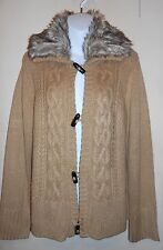 Jones New York Faux Fur Collar Cable Cardigan Sweater Gold Sand Large (L) NWT