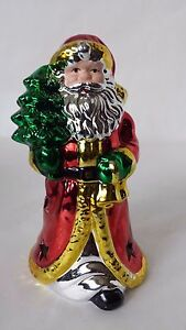 Santa Claus Tea Light Candle Holder Metallic Green Red Silver and Gold